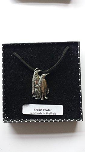 Elegantes Pinguine (B43feines englisches Zinn 3d Anhänger auf einem schwarzen Schnur Halskette handgefertigt 41cm & verstellbar mit Stolz In Details