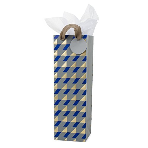 Hallmark Bottle Gift Bag with Tissue Paper (Navy, Gold, Gray Geometric Plaid) for Hanukkah, Christmas, Father's Day, Weddings, Engagements, Birthdays and Graduations
