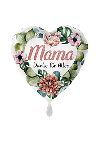 Balloonarama – XL – Globo – mamá Gracias por Todo diseño en Forma de corazón con Flores diseño para el día de la Madre – 45 cm – Idea Perfecta para Regalo de cumpleaños, día de San Valentín, Boda