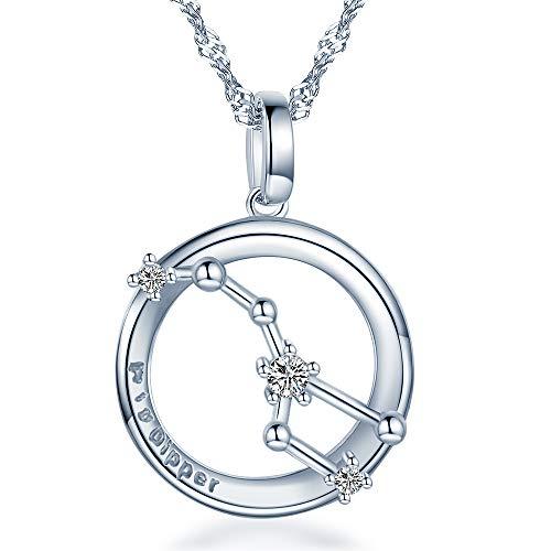 Unendlich U Grosser Wagen Anhänger Liebe Motiv Partner-Ketten Herren/Damen/Paar Kette 925 Sterling Silber Halskette Geschenk für Liebste
