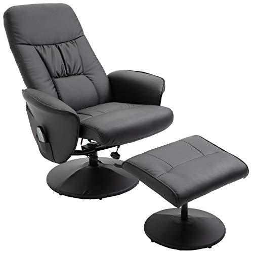HOMCOM Massagesessel mit Fußhocker Relaxsessel Heizfunktion 135°-Neigung PU Schwarz 81 x 81 x 105 cm