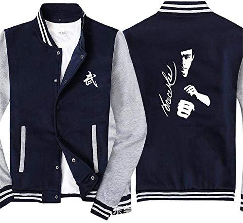 Unisex Sweatshirt, Männer Pullover Baseball Uniform-Jacke for Bruce Lee Printed Sweatshirt - Stitching Langarm-Zip Trainingsjacken Mantel - Teen Gift Schwarz Gray- 2XL