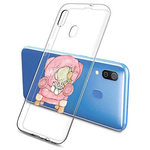 Suhctup Funda Silicona Transparente Ultrafina Suave Compatible con Samsung Galaxy A60,Creativo Flexible Antigolpes Cover de TPU con Adorable Dibujo Animado Patrón(Elefante y Conejo)