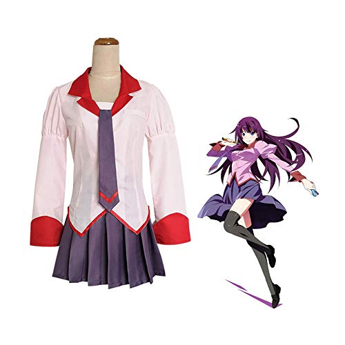 LCHENX-Monogatari Anime Senjougahara Hitagi Cosplay Disfraz Disfraz de Halloween Traje de Marinero Uniforme de La Escuela Secundaria,M