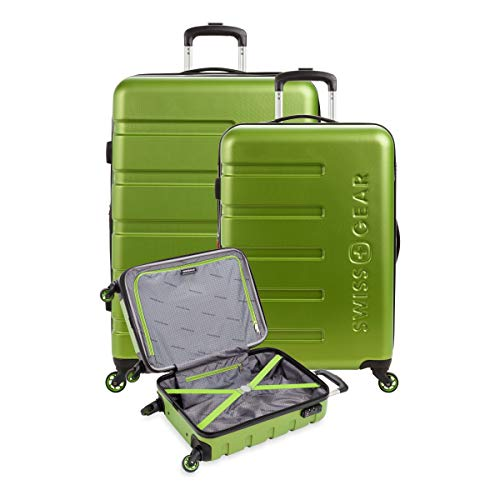 SWISSGEAR 7366 Hardside Expandable Luggage with Spinner Wheels (3-Piece Set (18/23/27), Green)