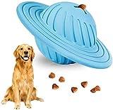Juguete de bola de golosinas, IQ interactivo, dispensador de alimentos, juguetes de puzzle, ovni para perros, juguetes de goma natural para perros medianos y pequeños que persiguen masticar jugando.