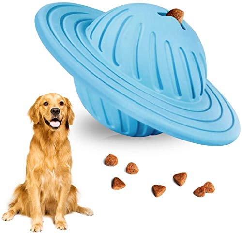 Demorex Interactive Dog Toy Puzzle IQ Treat Ball Food Dispensing Toys for Medium Large Dogs Playing Chasing Chewing UFO Natural Rubber Puppy Toy