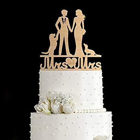 Decoración para tarta de Rummy con perro, Mrs Mrs Mrs Cake Topper, Decoración para tarta con el mismo sexo con perro, decoración para tarta del mismo sexo, 83 829739