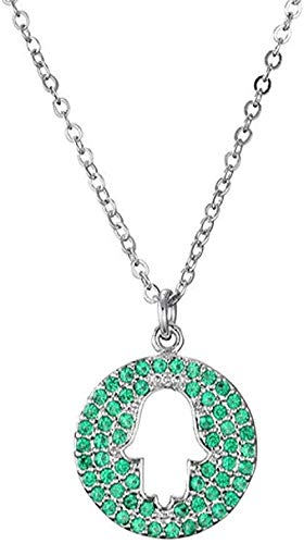 Yiffshunl Collar de Moda con Colgante de Palma Hueca, Collar de Cadena de eslabones, joyería de circonita cúbica Verde