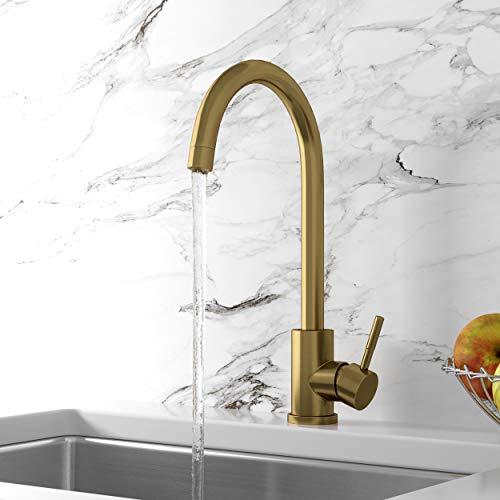Bronx Kitchen Sink Mixer Tap - Brushed Brass Finish Single Lever