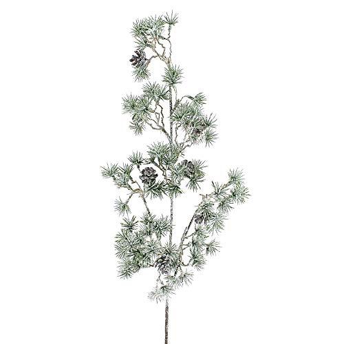 TGG Lärchenzweig mit Zapfen beeist 46cm dekorativer Einzelzweig, künstlich