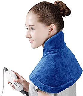 "Tech Love Electric Heating Pad for Neck Shoulder and Upper Back Pain Relief Moist/Dry Heated Pad with Auto Shut Off 14"" x 22"" - Blue"