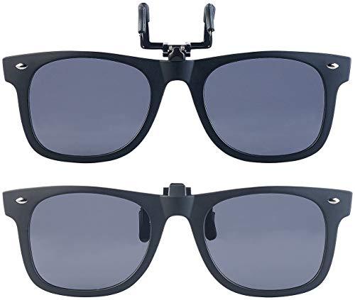 PEARL Sonnenbrillen Clip: 2er-Set Sonnenbrillen-Clips im Retro-Look, polarisiert, UV400 (Sonnenbrille Aufsatz)