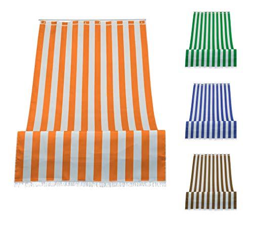 Tenda da Sole a Righe per Balcone Veranda o Terrazzo con Anelli e Ganci Tessuto Resistente da Esterno Misura cm 280x300 Colore Arancio