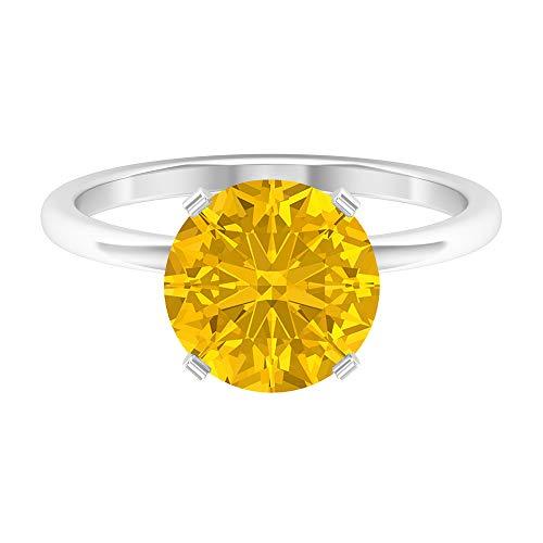 Anillo de compromiso de oro macizo de oro macizo con piedra de nacimiento de marzo, solitario, de 9,5 mm, con zafiro amarillo, 14K Oro blanco, laboratorio de zafiro amarillo creado, Size:EU 60