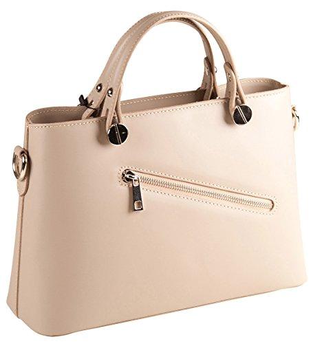 PELLE ITALY Handtasche Leder PI10092 Damen Henkeltasche Echt Leder 30x21x10 cm (BxHxT), Farbe:Beige