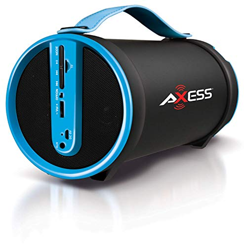 Axess SPBT1033 Portable Bluetooth Indoor/Outdoor 2.1 Hi-Fi Cylinder Loud Speaker with Built-In 4' Sub and FM Radio, SD Card, AUX Inputs in Blue