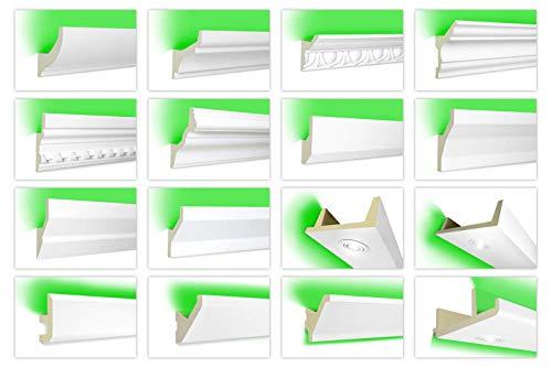 Hexim LED Stuckleisten für indirekte Beleuchtung - lichtundurchlässiges Profil, 58x48mm PU stoßfeste 2 Meter Leiste LED-3