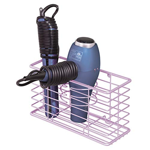 mDesign Modern Metal Wire Bathroom Wall Mount Hair Care & Styling Tool Organizer Storage Basket for Hair Dryer, Flat Iron, Curling Wand, Hair Straightener, Brushes - Holds Hot Tools - Purple