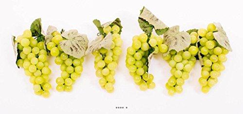 Artif-déco-mag.com - Raisin Blanc artificiel 51 grains x6 en Plastique soufflé L 16 cm