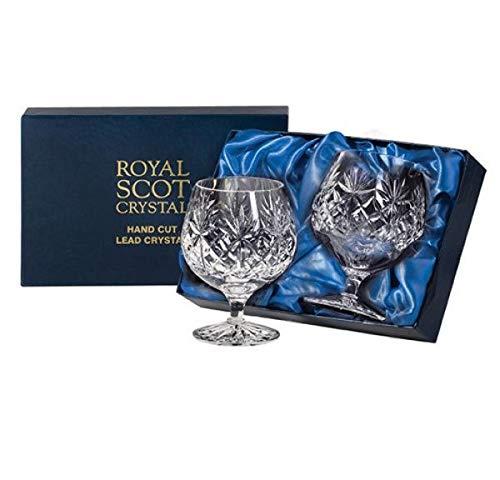 Royal Scot Crystal Kintyre Lot de 2 340,2 gram Cristal Brandy Verres à Cognac | écossais Cristal dans une boîte de présentation