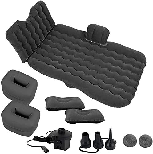 FOGUO Kit de Bomba de Asiento Trasero de Colchón de Aire Inflable para Coche, Colchón de Aire Inflable para Dormir, Acampar y Dormir con 2 Almohadas de Aire, Ajuste Universal para Coche SUV