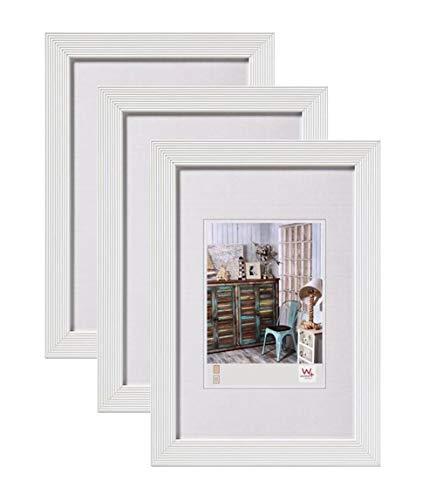 Walther design Grado Bilderrahmen, Wanddekoration, Holz, weiß, 3er (13 x 18 cm)