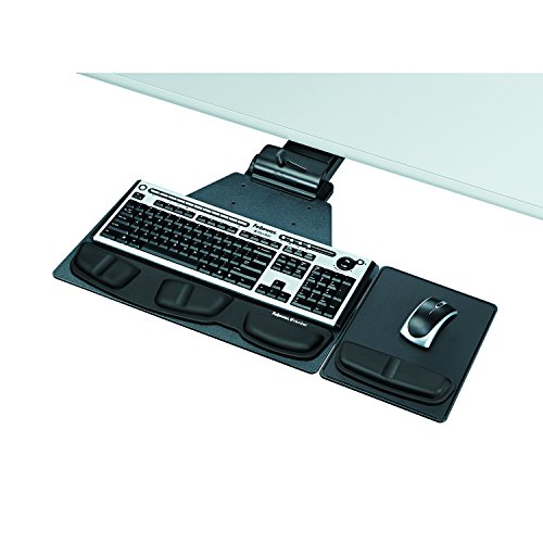 Fellowes 8035901 Professional Corner Executive Keyboard Tray, 19w x 14-3/4d, Black