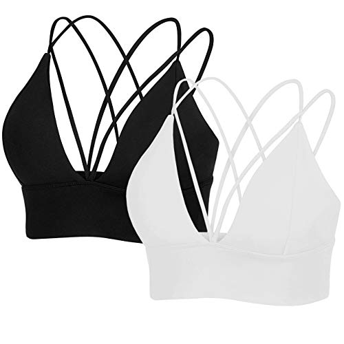 MotoRun Womens Push-up Padded Strappy Sports Bra Cross Back Wirefree Fitness Yoga Top Black-White Medium