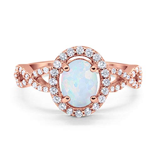 Blue Apple Co. Infinity Art Deco Halo Wedding Engagement Bridal Ring Oval Created White Opal Round Cubic Zirconia Solid Rose Tone 925 Sterling Silver, Size-10