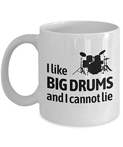 N\A Regalo Divertido del Baterista - Taza de café de la batería - Presente de la batería - Me Gustan los Tambores Grandes