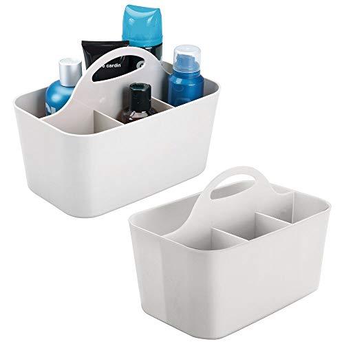 mDesign Organizador de almacenamiento de plástico para hombre – Cesta dividida, asa para baño, sostiene crema de afeitar, aceite de barba, peines, cepillos, gel para el...