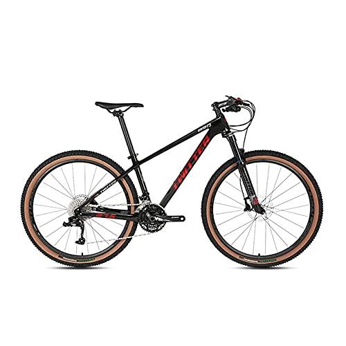 30 Velocidades Bicicleta De Montaña, 27.5/29 Pulgadas MTB Bicicleta De Montaña De Fibra De Carbono Mango De Aleación De Aluminio Ligero, 2.25 Neumáticos Extra Anchos Black Red-27.5x15inch