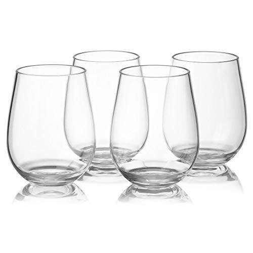 huiingwen Juego de 4 vasos de vino blanco y rojo sin tallo, 16 onzas, irrompibles de plástico Tritan para vacaciones, fiestas, cumpleaños, aptas para lavavajillas, sin BPA, juego de 4