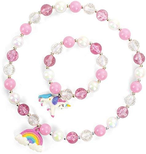 INTVN Einhorn Schmuck Sets Kinderschmuck Kleine Mädchen Handtasche Halskette Einhorn Armband Ring...