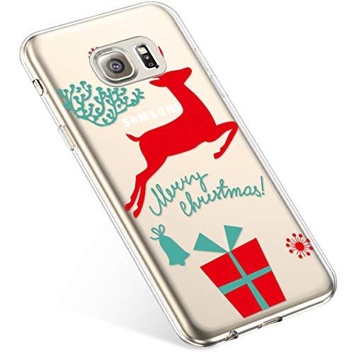 Uposao Kompatibel mit Handyhülle Galaxy S6 Edge Hülle Transparent Silikon Ultra Dünn Schutzhülle Durchsichtig Handyhülle Kristall Weiche Silikon TPU Handytasche Rückschale,Weihnachten Geschenk