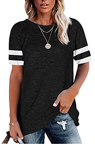 HAVANSIDY Damen T-Shirts Baggy White Block Kurzarm Tunika Tops (Schwarz, M)