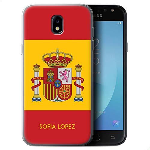 Personalizado Bandera Nacional Nación Personalizar Funda TPU/Gel para el Samsung Galaxy J5 2017/J530 / Español/De/España Diseño/Inicial/Nombre/Texto Carcasa/Estuche/Case
