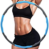 FLT Weighted Hula Hoops for Adults and Children,Folding Fitness Massage Hula Ring,8-section Soft Padding, Detachable Adjustable Slimming Circle,Weight Loss Distribution