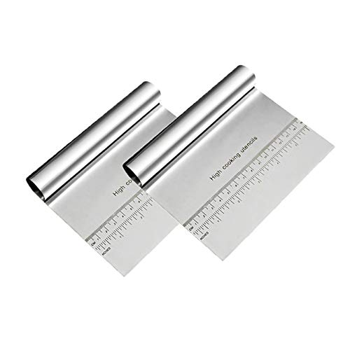 2 Pcs Dough Cutters, Dough Bench Scraper for Baking Cake, Professional Stainless Steel Pizza Cutter for Pastry, Bread, Pasta
