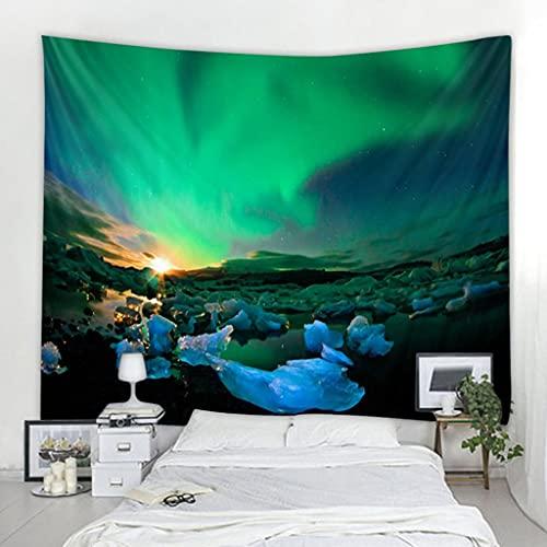 QWERY tapizUniverso Galaxy Hermosa Aurora Luna Bajo el Cielo Nocturno Impreso Tapiz de Fondo Decoración de Pared ClothHippie