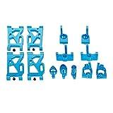QiKun-Home Para Wltoys 144001 Coche de Carreras Aleación de Aluminio Brazos Delanteros y Traseros Buje de dirección Asiento de la Rueda Delantera Trasera Asiento de Metal Conjunto de Asientos Azul