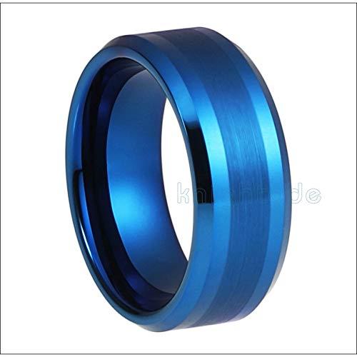 LIDAYE Alianza de Boda de Moda de carburo de tungsteno Azul de 8 mm para Hombre, Mujer, Anillo de Compromiso, Regalo de joyería, Acabado Pulido Cepillado, Ajuste cómodo 11.5