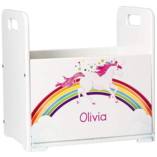 Fox Valley Traders Personalized Kids Wooden Book Caddy, Customized Children's Book Storage Bin, Unicorn Design