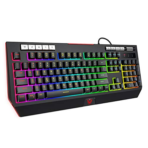 PICTEK Gaming Keyboard with Phone Holder and Volume Wheel,【2020 RGB Enhanced】 Customizable RGB Backlit Wired Keyboard, Mechanical Feeling, 9 Dedicated Media Keys, Splash-Proof, for Mac/PC Game, Black