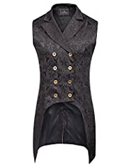 PaulJones Men's Steampunk Gothic Sleeveless Lapel Collar Double-Breasted Jacquard Vest Waistcoat Features:Sleeveless, Lapel Collar, Double-Breasted, Irregular High-Low Hem, Chic Jacquard, Polyester Lining Garment Care: Hand Wash Cold/Dry Cleaning Thi...