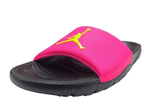 pink and black jordan slides - 2
