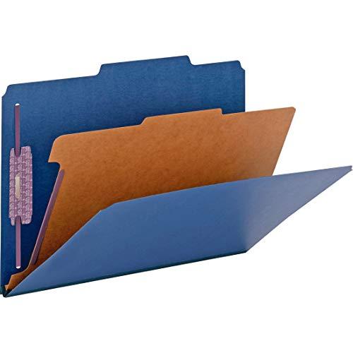 "Smead Pressboard Classification File Folder with SafeSHIELD Fasteners, 1 Divider, 2"" Expansion, Legal Size, Dark Blue, 10 per Box (18732)"