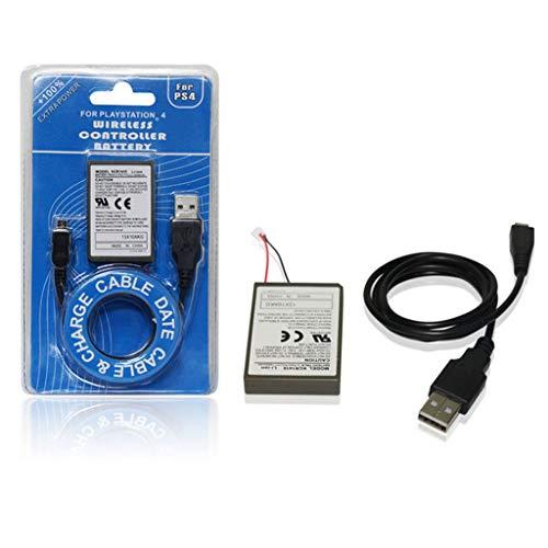 LEXIANG Batteria Ricaricabile ai polimeri di Litio da 3,7 V 2000 mAh con Cavo di Ricarica USB per Controller per Impugnatura Wireless Gamepad PS4
