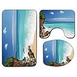 3Pcs Alfombra de baño antideslizante Juego de tapa de asiento de inodoro Decoración costera Alfombra de baño suave antideslizante Playa tropical Playa Acantilado bajo cielo despejado Costa de la isla